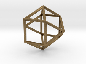 Cube Octohedron - 5cm in Natural Bronze