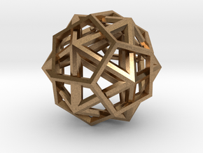 IcosoDodecahedron Thick - 3.5cm in Natural Brass