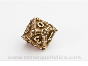 Dragon d10 in Polished Bronzed Silver Steel