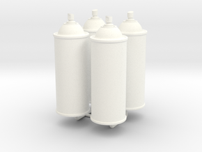 1/6 Scale Spray Cans X4 in White Processed Versatile Plastic