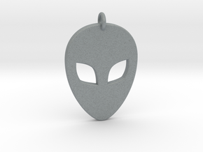 Alien Head Pendant, 3mm Thick. in Polished Metallic Plastic