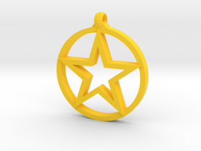 Pentagram Pendant in Yellow Processed Versatile Plastic