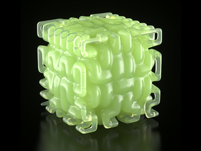 Smooth Hilbert Cube (hollow) in White Natural Versatile Plastic