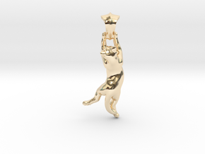 Cat Pendant in 14K Yellow Gold