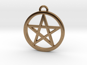 Pentacle Pendant / Keychain 3cm in Natural Brass