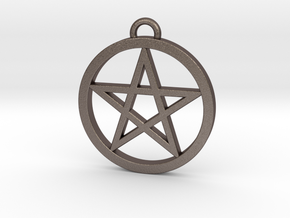 Pentacle Pendant / Keychain 3cm in Polished Bronzed Silver Steel