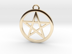 Pentacle Pendant 4cm in 14K Yellow Gold