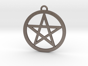 Pentacle Pendant 5cm in Polished Bronzed Silver Steel