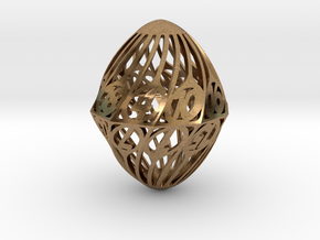 Twisty Spindle d20 in Natural Brass