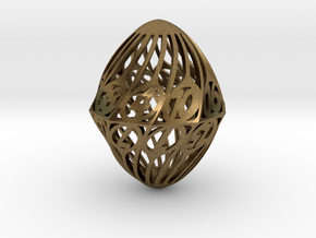 Twisty Spindle d20 in Natural Bronze