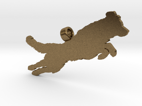 Jumping Golden Retriever Silhouette Pendant in Natural Bronze