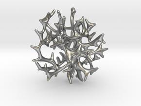 3-dimensional Coral Pendant in Natural Silver