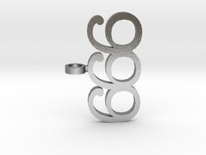 Devil 666 Pendant in Natural Silver