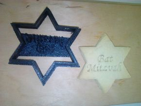 Bat Mitzvah Star of David - Cookie cutter in Black Strong & Flexible