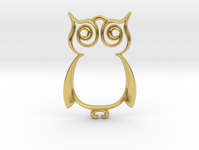 The Owl Pendant in Polished Brass