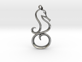 The Seahorse Pendant in Fine Detail Polished Silver