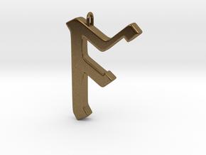 Rune Pendant - Āc in Natural Bronze