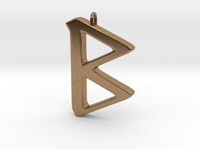 Rune Pendant - Beorc in Natural Brass