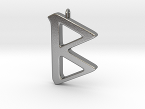 Rune Pendant - Beorc in Natural Silver