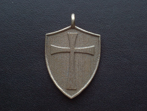 Medieval Shield Pet Tag / Pendant in Polished Bronzed Silver Steel