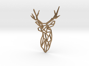 Stag Trophy Head Pendant Broach in Natural Brass