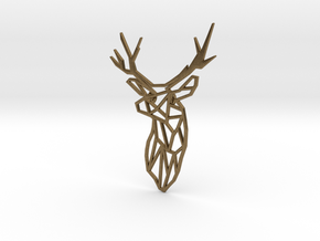 Stag Trophy Head Pendant Broach in Natural Bronze