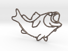 Largemouth Bass in Polished Bronzed Silver Steel