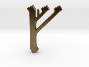 Rune Pendant - Feoh in Natural Bronze