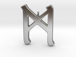 Rune Pendant - Mann in Natural Silver