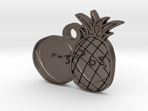 Love Fruits Carved Pedant in Polished Bronzed Silver Steel