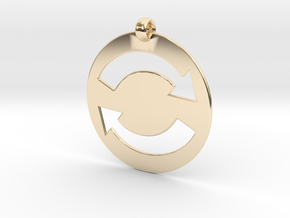 Refresh Sign Pendant, 1mm thick. in 14K Yellow Gold