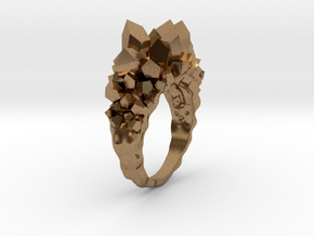 Crystal Ring size 9 in Natural Brass
