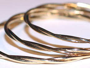LooseTwist Bangle Bracelet SMALL in Polished Brass