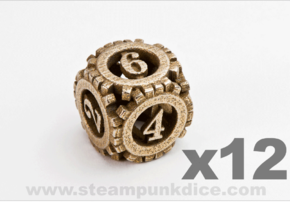 Steampunk Gear 12d6 Set in Stainless Steel