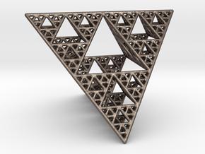 Sierpinski Tetrahedron level 4 in Polished Bronzed Silver Steel