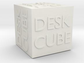 """Desk Cube"" Cube in White Natural Versatile Plastic"