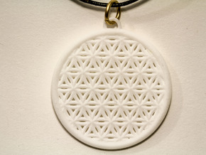 Flower Of Life Pendant  in White Natural Versatile Plastic