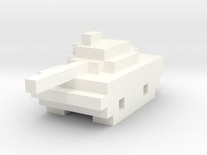 Miniature Pixellated Tank in White Processed Versatile Plastic