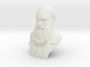 "Charles Darwin 9"" Bust in White Natural Versatile Plastic"