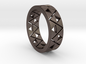 Triforce Ring Size 10 in Polished Bronzed Silver Steel