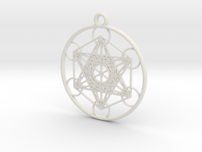 Metatrons Cube Pendant in White Natural Versatile Plastic