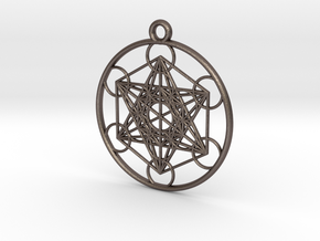 Metatrons Cube Pendant in Polished Bronzed Silver Steel