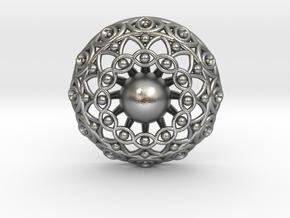 Eye Mandala Pendant in Natural Silver