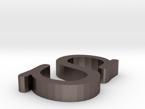 S Letter in Polished Bronzed Silver Steel