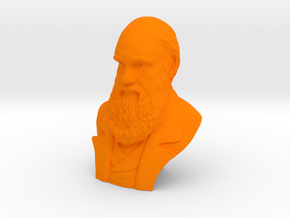 "Charles Darwin 2"" Bust in Orange Processed Versatile Plastic"