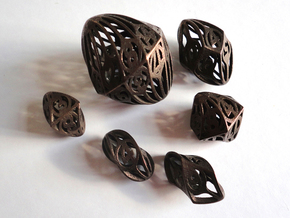 Twisty Spindle Dice Set in Polished Bronze Steel