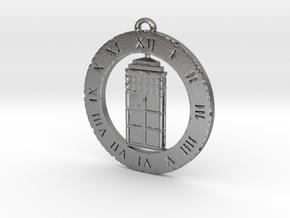 TARDIS (Flat) - Pendant in Natural Silver