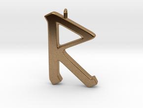 Rune Pendant - Rād in Natural Brass