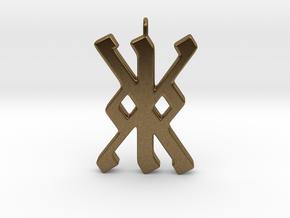 Rune Pendant - Kalc (kk) in Natural Bronze