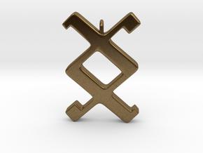 Rune Pendant - Ing in Natural Bronze
